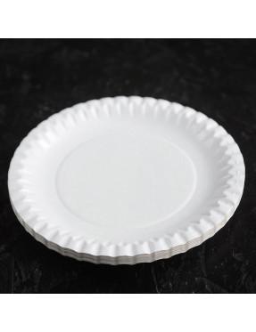 Тарелка белая, рифленая, мелован